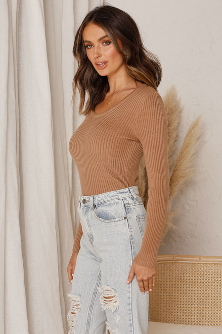 Erin Knit Top CAMEL