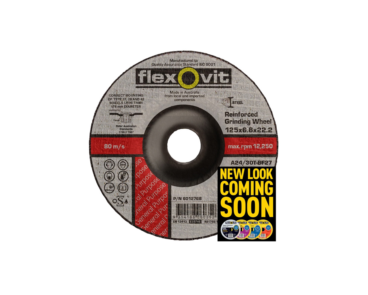 Flexovit 6012768 Metal Grinding Wheel 125x6 8x22mm