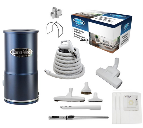 Cana-Vac Signature CLS-790 Condo Central Vacuum with Wessel 35' Rug & Floor Kit