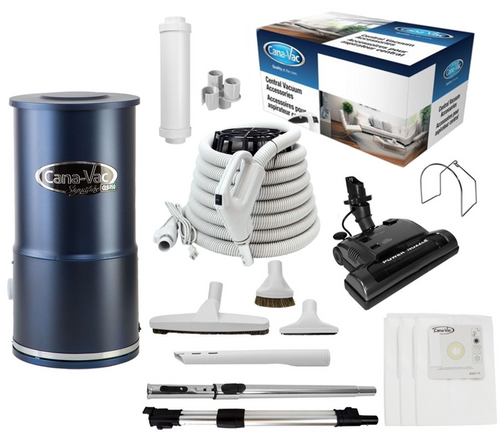 Cana-Vac Signature CLS-790 Condo Central Vacuum with 30' Power Essentials Kit
