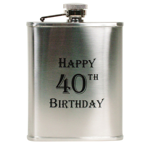 6oz Happy 40th B'Day Flask