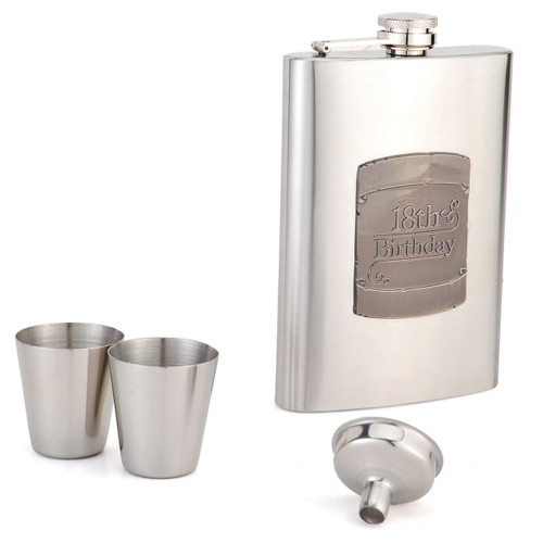 8oz Flask 18th Shield