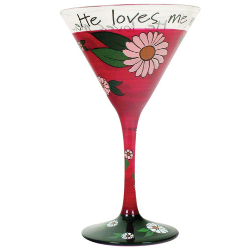 Hand Painted Martini He Loves Me