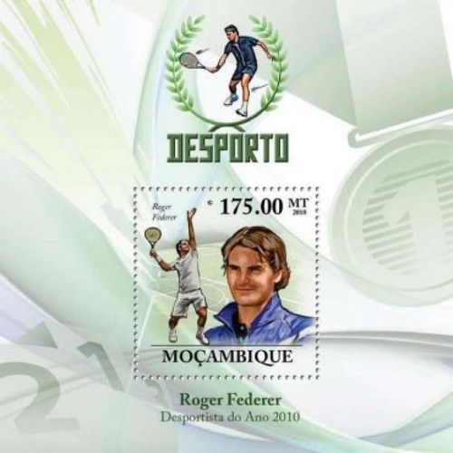 Mozambique - Tennis & Roger Federer on Stamps - Mint Stamp S/S 13A-336