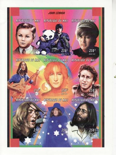 Mali - John Lennon - 9 Stamp Imperf Sheet MNH - 891