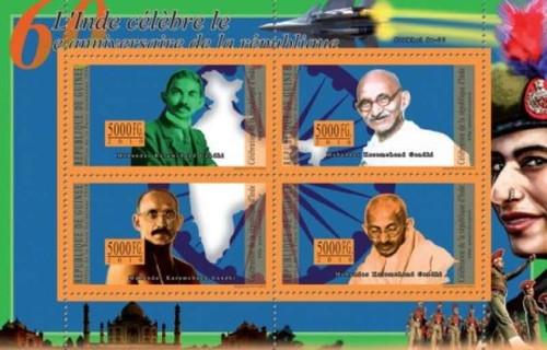 Guinea - 2010 India & Gandhi - 4 Stamp Mint Sheet 7B-1308