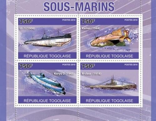 Togo - Submarines - 4 Stamp Mint Sheet 20H-148