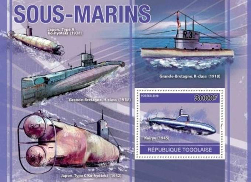 Togo - Submarines, Kairyu, H-Class, R-class - Mint Stamp S/S 20H-149