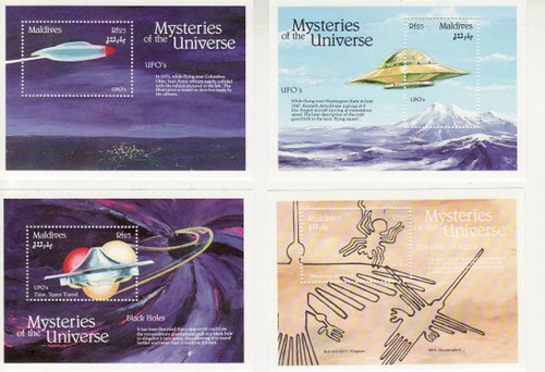 Maldive Isl- Universe Mysteries - 16 Stamp S/S Mint Set 13E-001