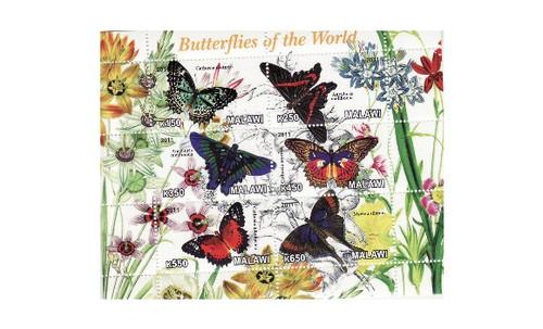 Malawi - Butterflies - 6 Stamp Mint Sheet 13K-155