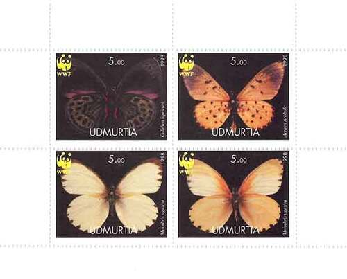 1998 Butterflies on Stamps with WWF Logo - 4 Stamp Mint Sheet 21A-033