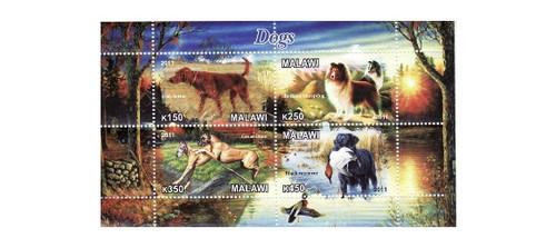 Malawi - Dogs - 4 Stamp Mint Sheet MNH 13K-170
