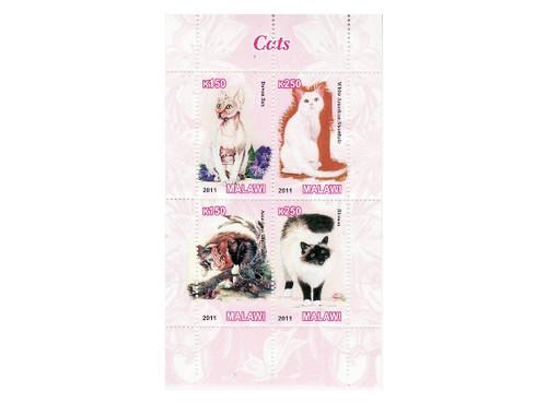 Malawi - Cats - 4 Stamp Mint Sheet MNH 13K-171