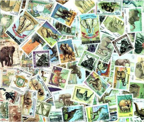 Elephants Stamp Collection - 100 Different Stamps