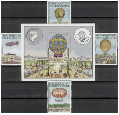 Central Africa - 1983 - Balloons - 4 Stamps & S/S MNH - CA-C282-6