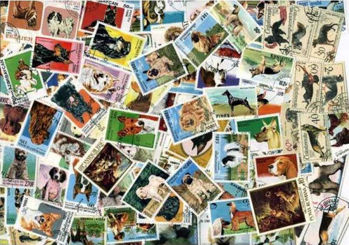 Dogs on Stamps Collection - 500 Different Stamps