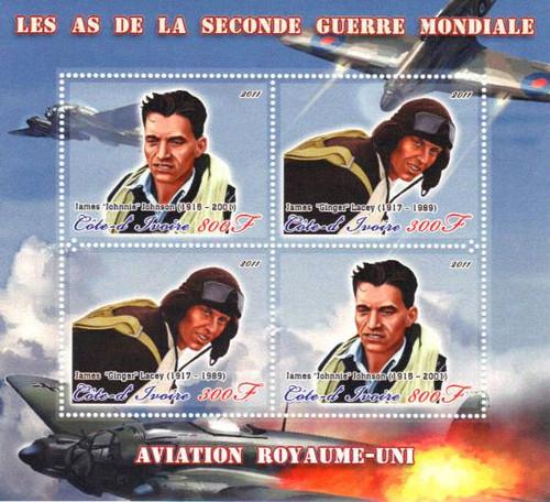 Ivory Coast - 2011 World War II British Pilots 4 Stamp Sheet - 9A-091