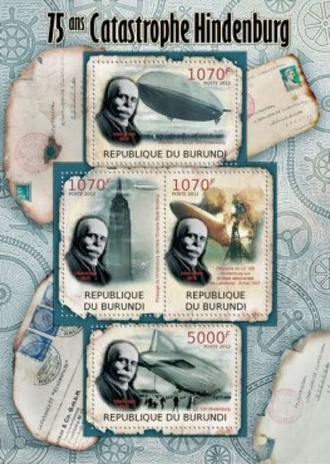 Burundi - Hindenburg Disaster - 4 Stamp Mint Sheet 2J-256