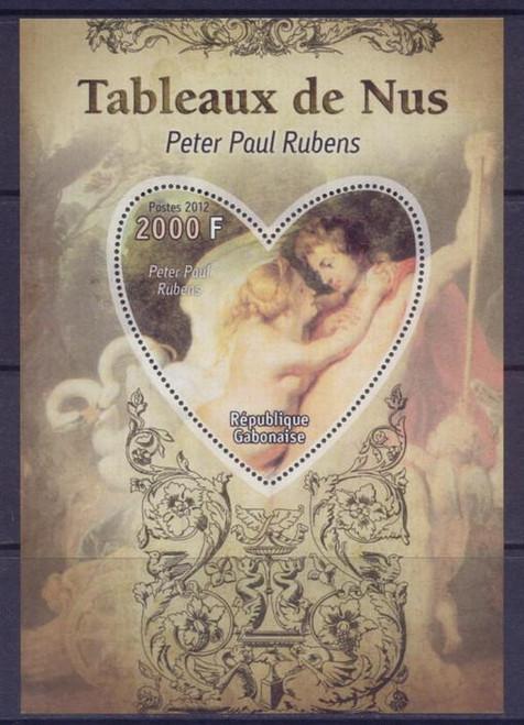 Gabon - Rubens Painting - Heart-Shaped Stamp Souvenir Sheet - 7F-080