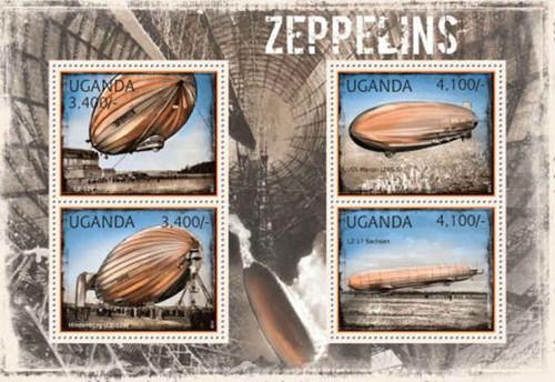 Uganda - Zeppelins on Stamps - 4 Stamp Mint Sheet - 21D-069