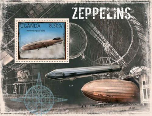 Uganda - Zeppelins on Stamps - Mint Stamp Souvenir Sheet - 21D-070