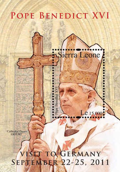 Sierra Leone - Pope Benedict XVI on Stamps - Souvenir Sheet - SIE1219S