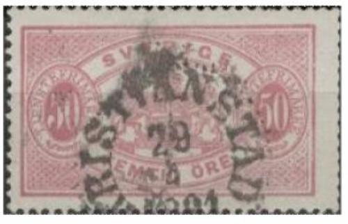 Sweden - 1881 50o pale rose Official Stamp, perf 13 Scott #023