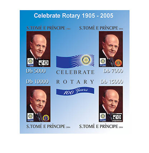 St Thomas - Rotary 100th Anniversary on Stamps - 4 Stamp Sheet ST4207