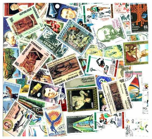 Gabon Stamp Collection  - 100 Different Stamps