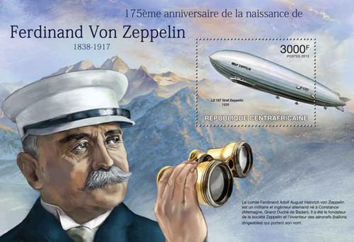 Central Africa - Ferdinand Von Zeppelin - Stamp Souvenir Sheet 3H-475