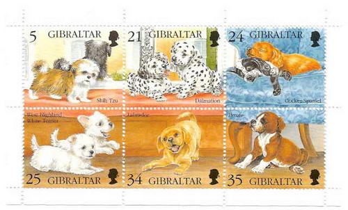 Gibraltar Wholesale - 10 of 1996 Dogs- 6 Stamp Sheet Scott #702
