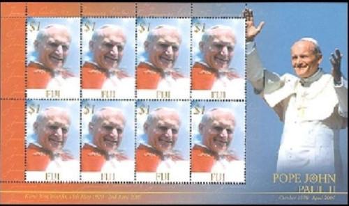 Fiji - Pope John Paul II on Stamps - 8 Stamp Mint Sheet 6G-001