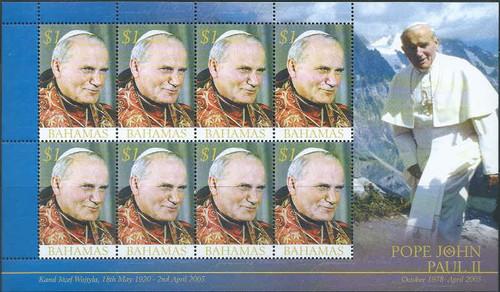 Bahamas - 2005 - Pope John Paul II - 8 Stamp Sheet - 2P-006