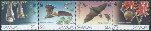 Samoa - 1993 - Bats & WWF Logo - 4 Stamp Set - 19K-004