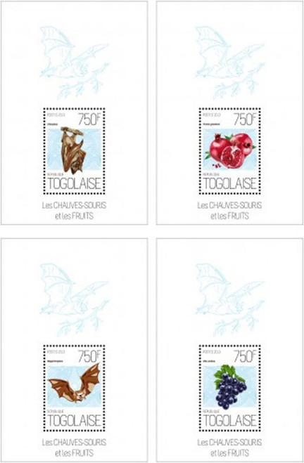 Togo - Bats - Mammals - Fruits - Pomegranates - 4 Stamp Set - 20H-643