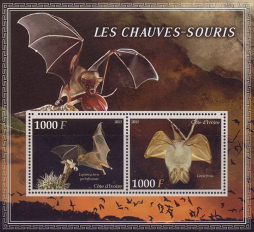 Ivory Coast - 2013 Bats on Stamps - 2 Stamp Mint Sheet - 9A-229