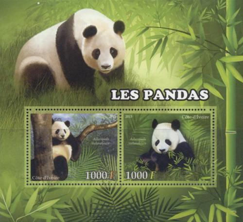 Ivory Coast - 2013 Pandas on Stamps - 2 Stamp Mint Sheet - 9A-230
