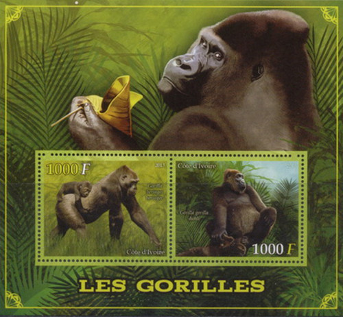 Ivory Coast - 2013 Gorillas on Stamps - 2 Stamp Mint Sheet - 9A-231