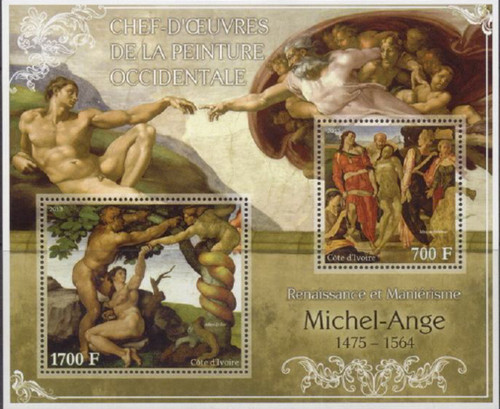 Ivory Coast - 2013 Michelangelo Paintings - 2 Stamp Sheet - 9A-210