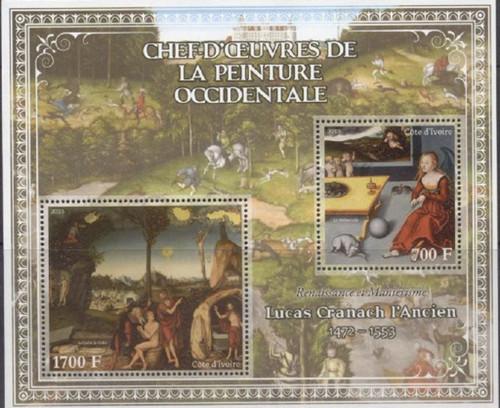 Ivory Coast - 2013 Cranach the Elder Paintings - 2 Stamp Sheet  9A-214
