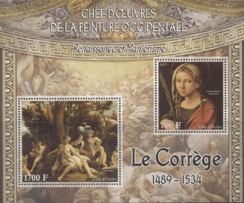 Ivory Coast - 2013 Correggio Paintings - 2 Stamp Sheet - 9A-222