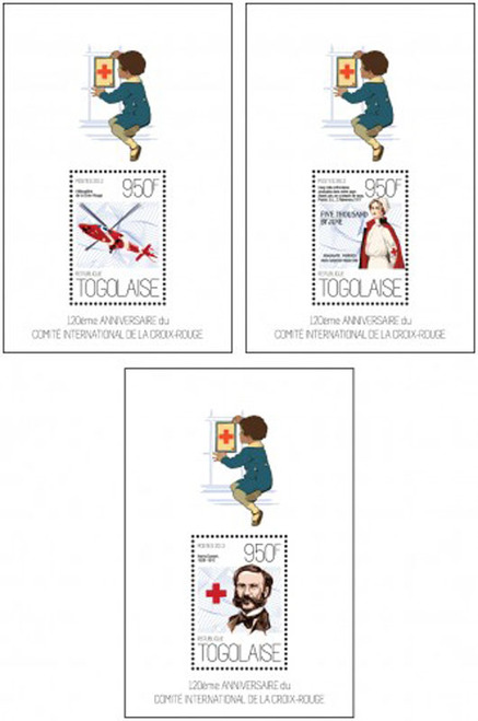 Togo - 120th Anniversary Red Cross Committee - 3 Stamp Set - 20H-697