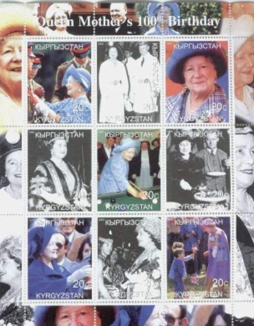 Queen Mother 100th Birthday - 9 Stamp Mint Sheet MNH K062