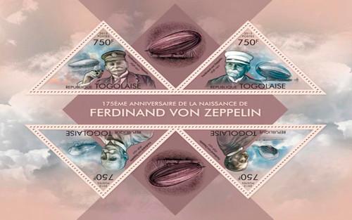 Togo - 2013 Ferdinand Von Zeppelin Mint 4 Stamp Sheet 20H-707