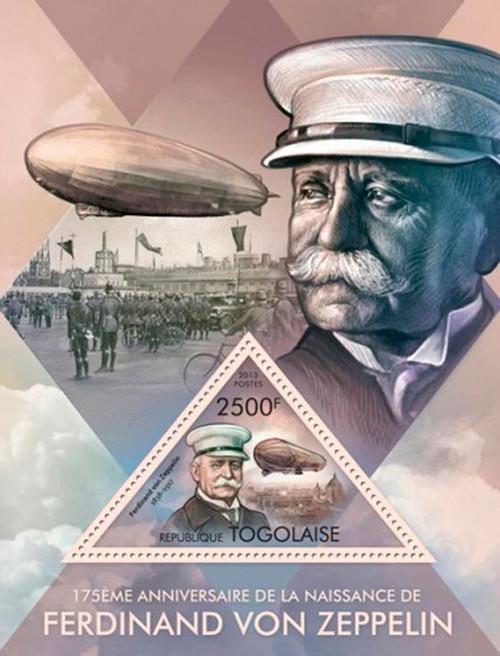 Togo - 2013 Ferdinand Von Zeppelin Mint Stamp Souvenir Sheet 20H-708