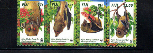 Fiji – Monkey-Faced Bat - World Wildlife Fund – 4 Stamp Sheet 6G-002