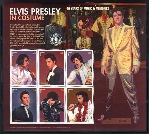 Gambia – Elvis Presley Costumes - Singer – 6 Stamp Sheet - 7L-004