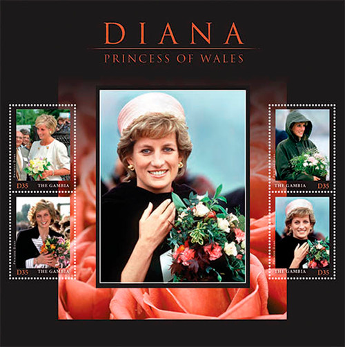 Gambia 2013 Princess Diana with Flowers Mint 4 Stamp Sheet GAM1333H