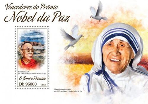 St. Thomas - 2013 Dalai Lama - Stamp Souvenir Sheet - ST13413b