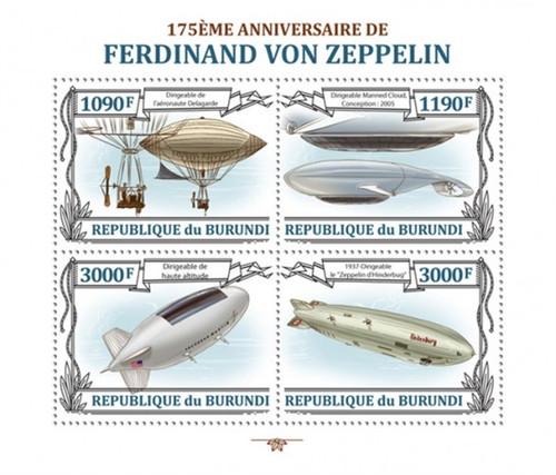 Burundi - 2013 von Zeppelin 175 Anniversary - 4 Stamp Sheet - 2J-549